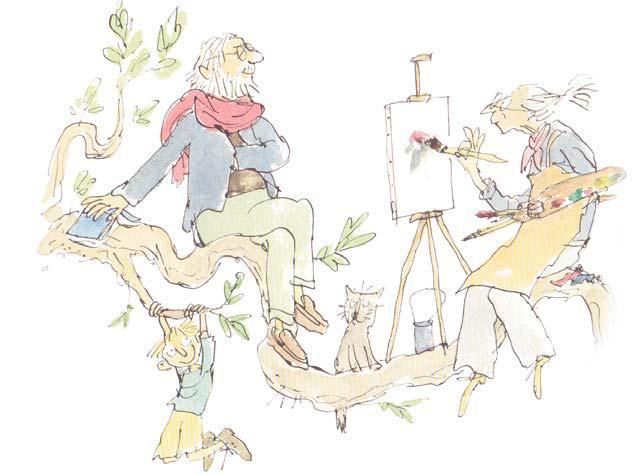 Abuelos pintando sobre un árbol. Quentin Blake