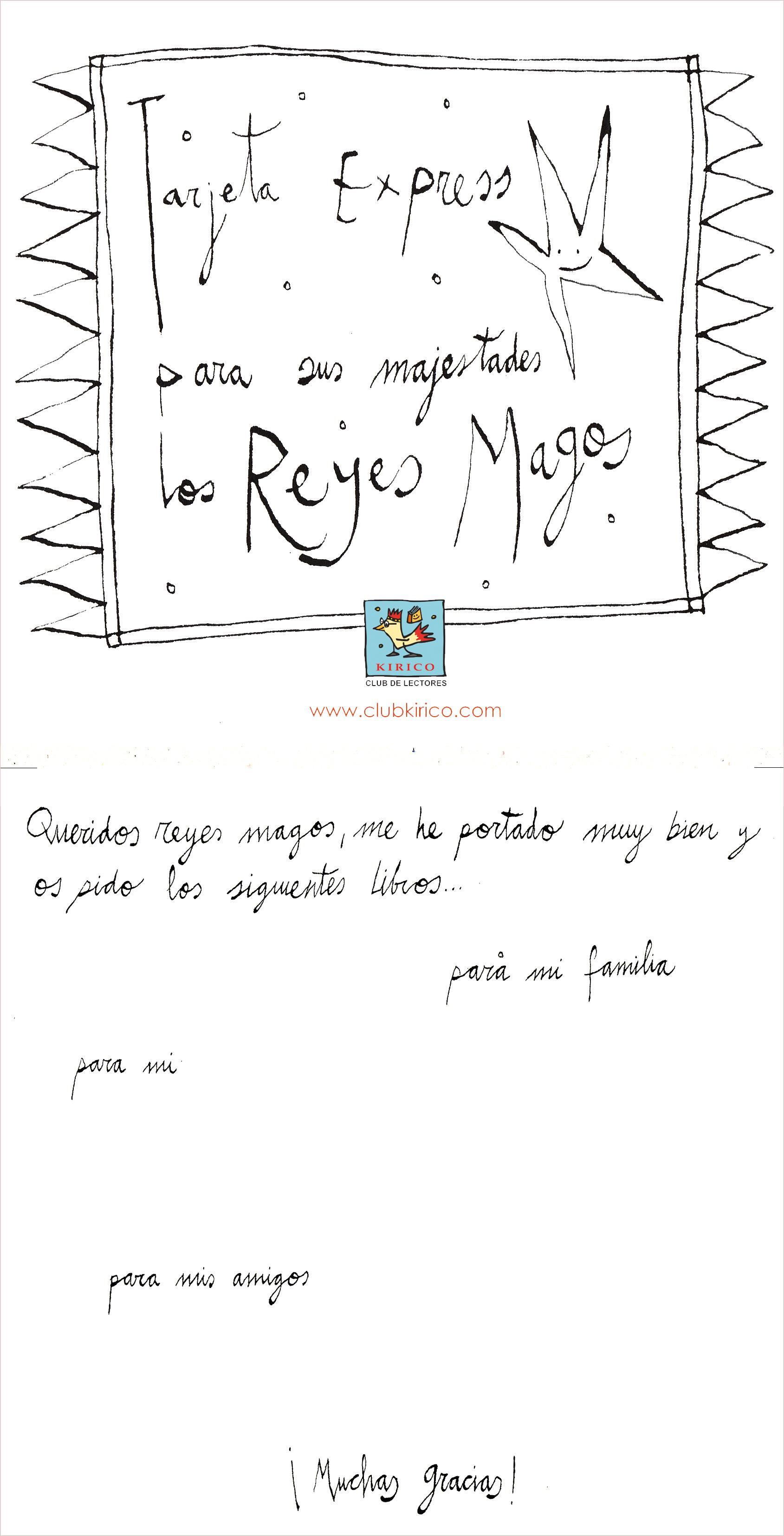 Una tarjeta express para los Reyes Magos | Club Kirico