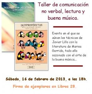 TALLER DE COMUNICACIÓN NO VERBAL, LECTURA Y BUENA MÚSICA.